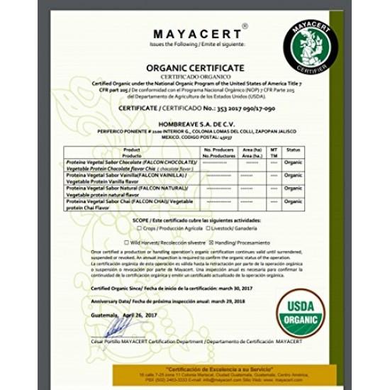 Falcon Protein Birdman, Proteina Vegetal (Vegana) en polvo Certificada Organica Sabor Chai 1,170kg