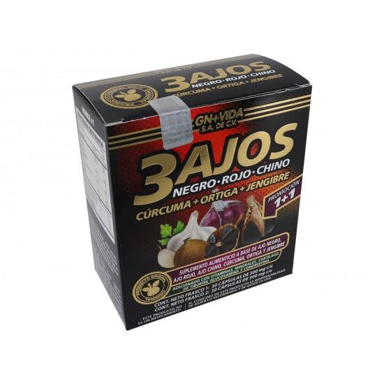 3 Ajos caja con 30 Caps, viene con Ajo Negro, Ajo Rojo y Ajo Chino